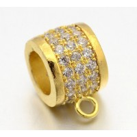 9mm Cubic Zirconia Rondelle Bail, Gold Tone, 1 Piece