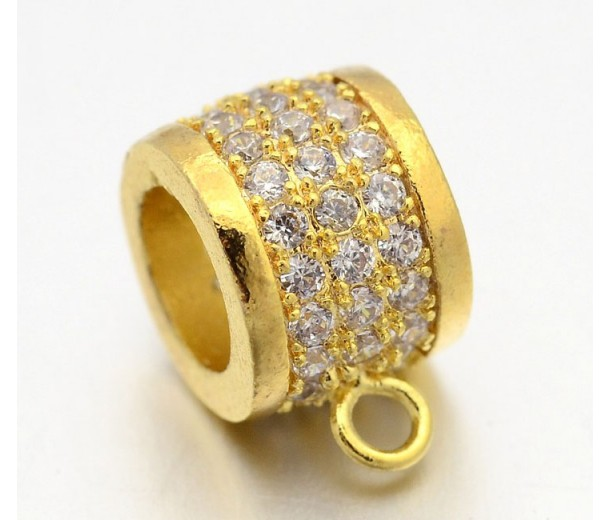 9mm Cubic Zirconia Rondelle Bail, Gold Tone, 1 Piece