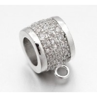 9mm Cubic Zirconia Rondelle Bail, Rhodium Plated, 1 Piece