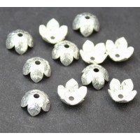 9mm Leaf Pattern Bead Caps, Silver Plated, Pack of 20