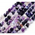 Striped Agate Beads, Purple, 7-9mm Faceted Nugget