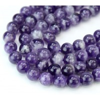 Dogtooth Amethyst Beads, Natural Purple, 8mm Round