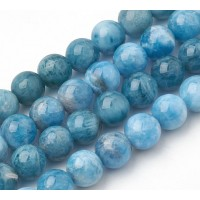 Apatite Beads, Natural, Dark Teal Blue, 8mm Round
