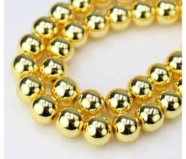 Hematite Beads, Metallic Yellow Gold, 10mm Round