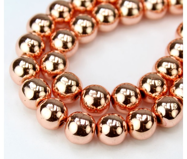 Hematite Beads, Metallic Rose Gold, 10mm Round