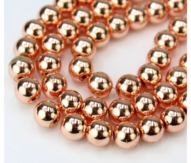 Hematite Beads, Metallic Rose Gold, 8mm Round