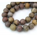 Matte Artistic Jasper Beads, Natural Grey and Brown, 8mm Round, 15 Inch Strand