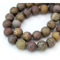 Matte Artistic Jasper Beads, Natural Grey and Brown, 10mm Round