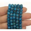 Apatite Beads, Natural, Dark Teal Blue, 6mm Round, 15 Inch Strand