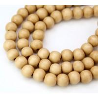 Dyed Wood Beads, Light Yellowish Beige, 8mm Round