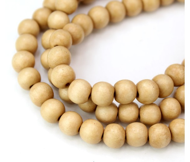 Dyed Wood Beads, Light Yellowish Beige, 8mm Round