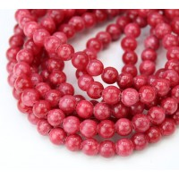 Crimson Red Mountain Jade Beads, 6mm Round