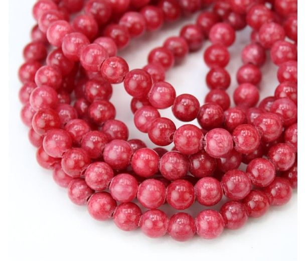Crimson Red Mountain Jade Beads, 6mm Round