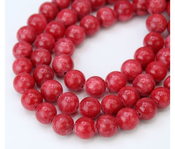 Crimson Red Mountain Jade Beads, 8mm Round