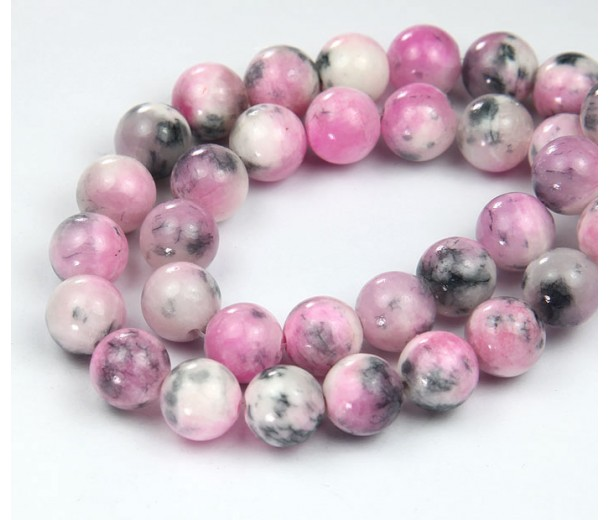 Pink and Grey Multicolor Jade Beads, 10mm Round