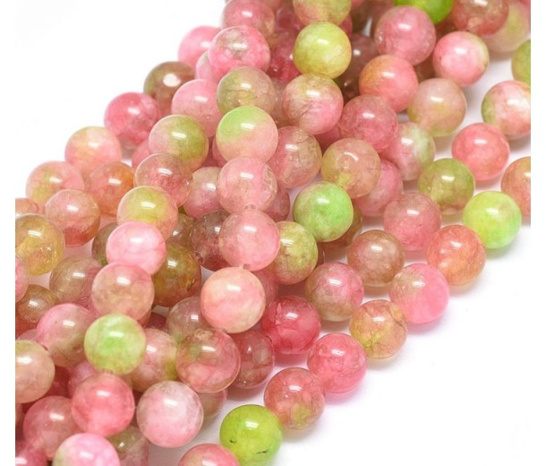 Coral and Chartreuse Multicolor Jade Beads, 8mm Round