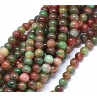 Dark Green and Maroon Multicolor Jade Beads, 8mm Round