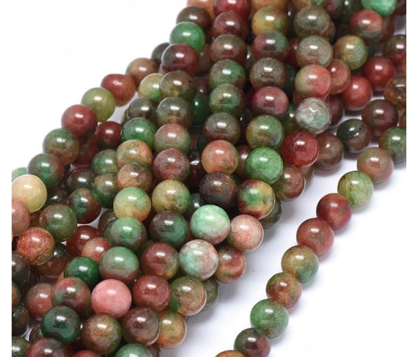 Dark Green and Maroon Multicolor Jade Beads, 8mm Round