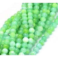 Underwater Green Mix Multicolor Jade Beads, 8mm Round