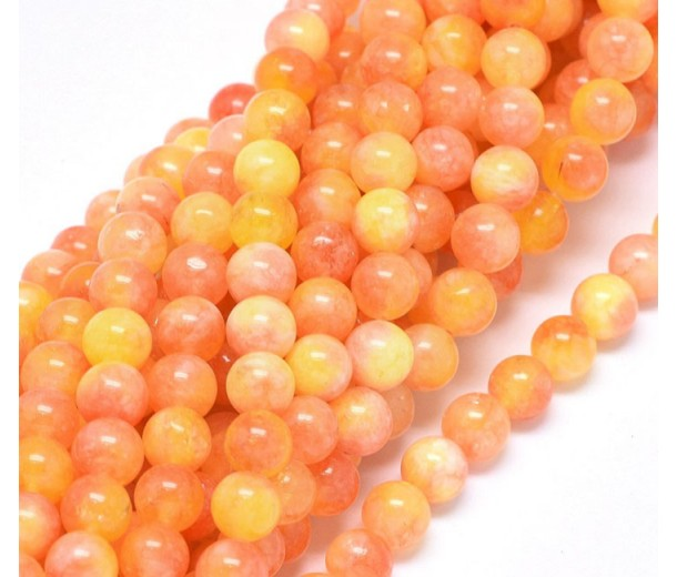 Mango Sorbet Mix Multicolor Jade Beads, 8mm Round