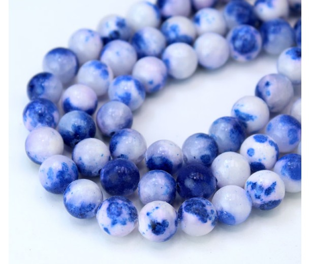 Cobalt Blue and White Multicolor Jade Beads, 8mm Round
