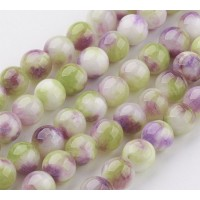 Lilac and Chartreuse Multicolor Jade Beads, 8mm Round