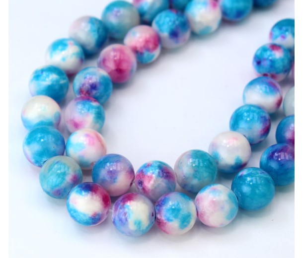Light Blue and Pink Multicolor Jade Beads, 10mm Round