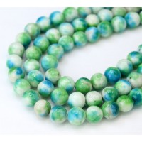 Blue Green Multicolor Jade Beads, 8mm Round