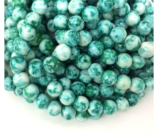Green Veins Multicolor Jade Beads, 8mm Round