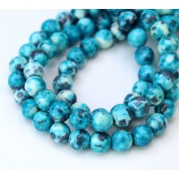 Ocean Teal Multicolor Jade Beads, 8mm Round