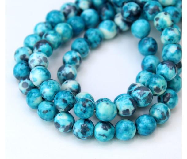 Ocean Teal Multicolor Jade Beads, 8mm Round
