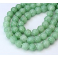 Pistachio Green Mountain Jade Beads, 8mm Round