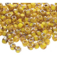 6/0 Matubo 3-Cut Seed Beads, Lemon Yellow Silver Picasso, 5 Gram Bag