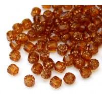 Topaz Brown Picasso Czech Glass Beads, 6mm Renaissance, Pack of 25