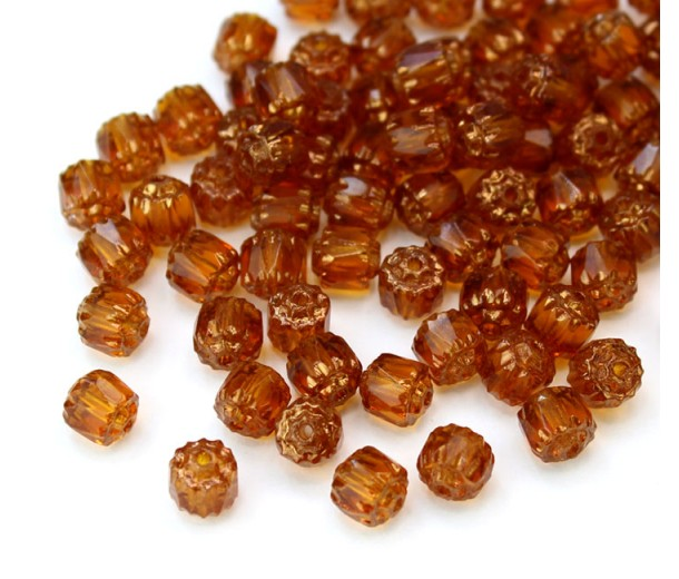 Topaz Brown Picasso Czech Glass Beads, 6mm Renaissance, Pack of 25