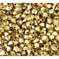 Aurum Gold Coated Czech Crystal Beads by Preciosa, 4mm Faceted Bicone, Pack of 30
