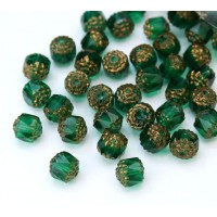 Teal Picasso Czech Glass Beads, 8mm Renaissance, Pack of 25