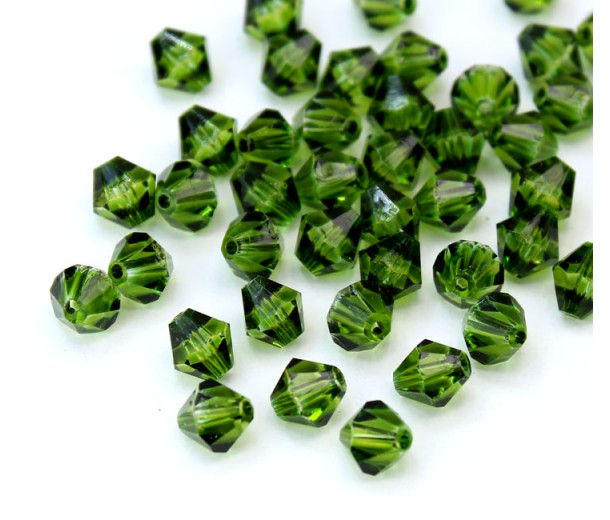 Forest Green Czech Crystal Beads, 6mm Faceted Bicone, Pack of 20