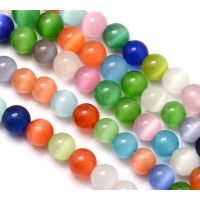 Color Mix Cat Eye Glass Beads, 6mm Smooth Round