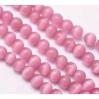 Rose Pink Cat Eye Glass Beads, 10mm Smooth Round