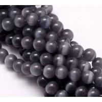 Dark Grey Cat Eye Glass Beads, 9mm Smooth Round