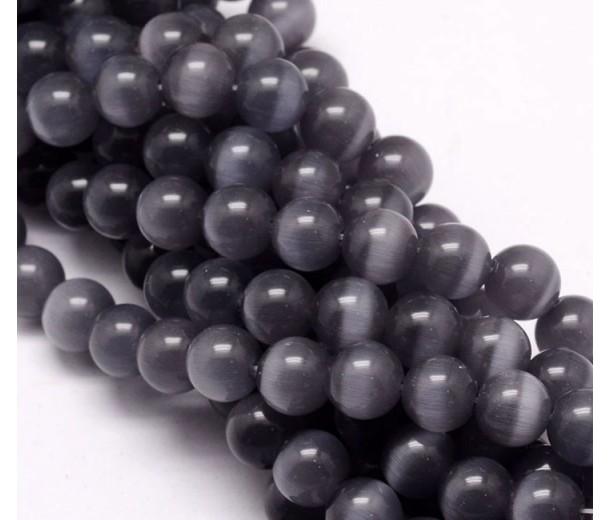 Dark Grey Cat Eye Glass Beads, 10mm Smooth Round