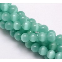 Teal Green Cat Eye Glass Beads, 10mm Smooth Round