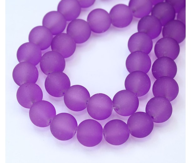 Light Orchid Frosted Glass Beads, 10mm Smooth Round