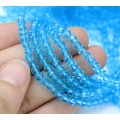 Sky Blue Transparent Glass Beads, 4x3mm Faceted Rondelle