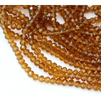 Sienna Brown Transparent Glass Beads, 4x3mm Faceted Rondelle