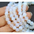 Matte Sea Opal Glass Beads, 6mm Smooth Round