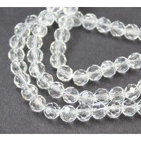 Clear Glass Beads, 6mm Faceted Round