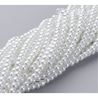 Snow White Glass Pearl Beads, 4mm Smooth Round