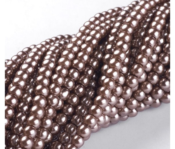 Cocoa Brown Glass Pearl Beads, 4mm Smooth Round